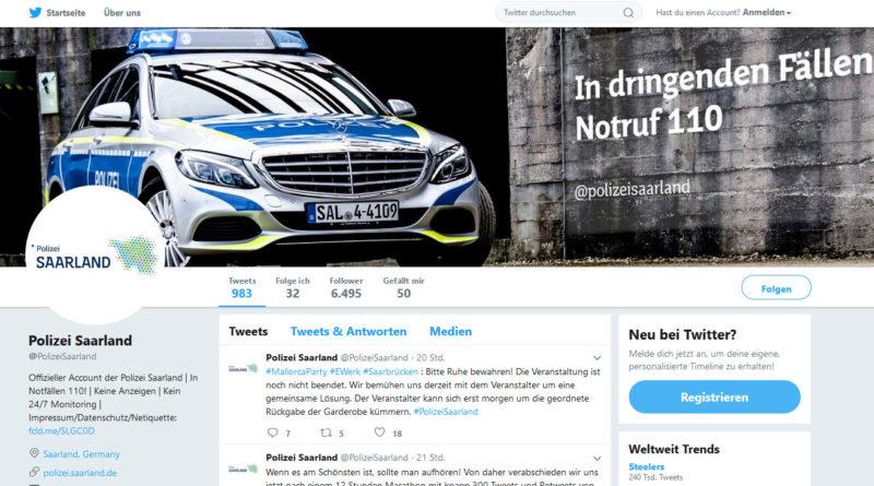 Der Auftritt der Polizei des Saarlandes bei Twitter