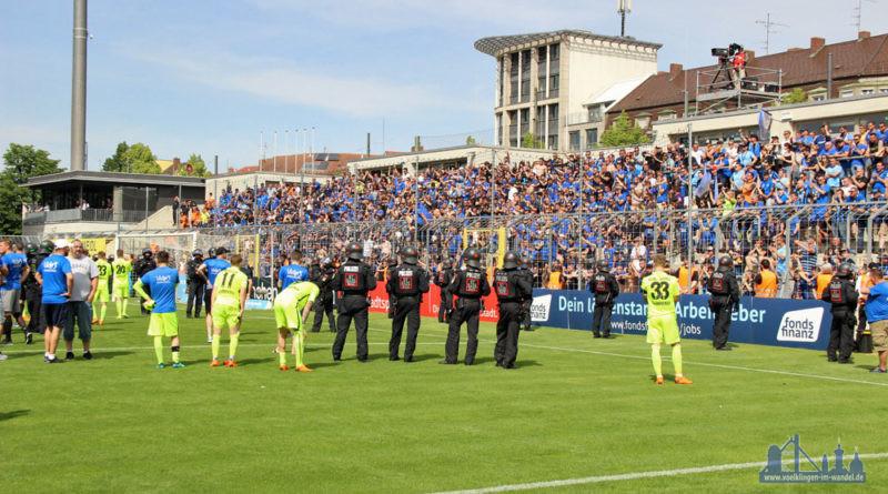 Das Polizeiaufgebot war nicht nötig - Die FCS-Fans blieben friedlich (Foto: Hell)