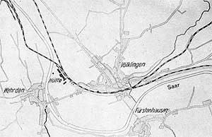 Die Bebauung Völklingens um 1881