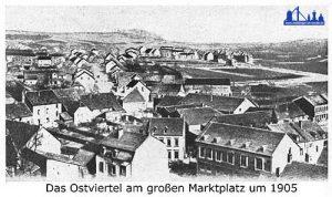 Bereits während der Bauphase muss dieses Foto vom Rathausturm entstanden sein.