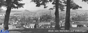 Blick von Wehrden über die Völklinger Hütte zur Stadt 1921