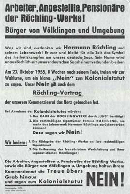 Aufruf zur Ablehnung des Saarstatutes. (Quelle: Saarstahl AG)