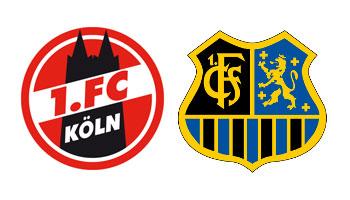 Wappen des 1. FC Köln und des 1. FC Saarbrücken (Gemeinfrei/FCS)