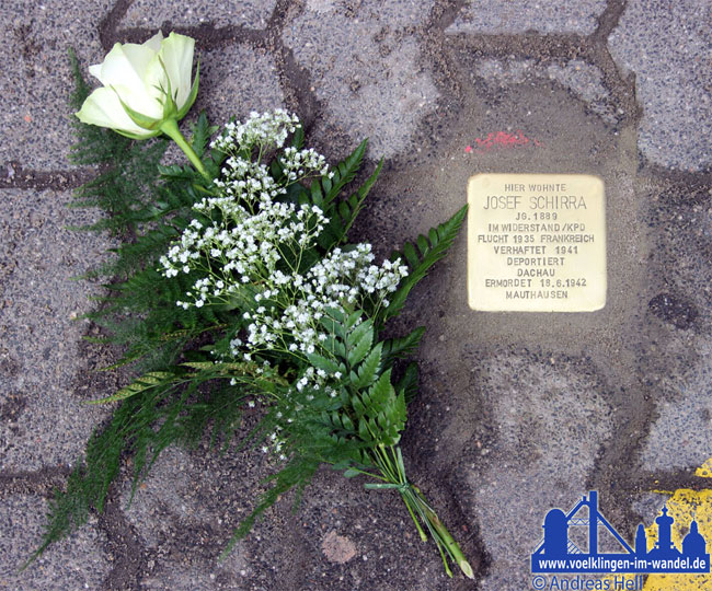 Stolperstein in Gedenken an Josef Schirra