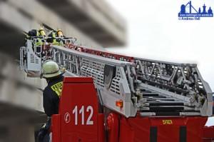 Völklinger Feuerwehr-Drehleiter im Einsatz
