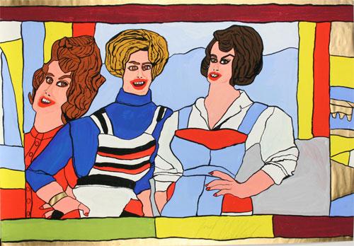 Drei Mannequins Josef Wittlich: Drei Mannequins, circa 1970 Tempera auf Papier, 62,4 x 89,9 cm Copyright: Weltkulturerbe Völklinger Hütte/Dieter F. Lange