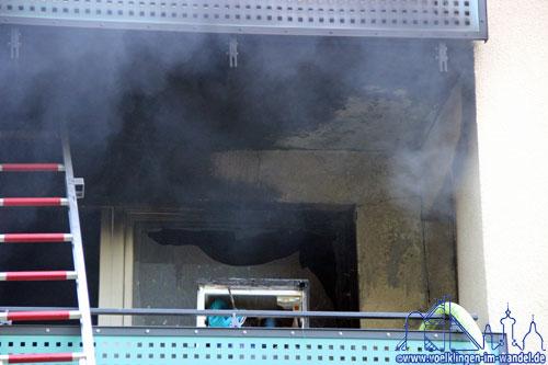 Die Küche der Wohnung ist vollkommen ausgebrannt.