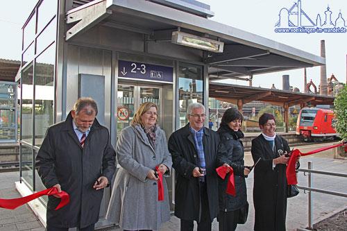 Symbolische Freigabe der neuen Aufzuganlage am Völklinger Bahnhof