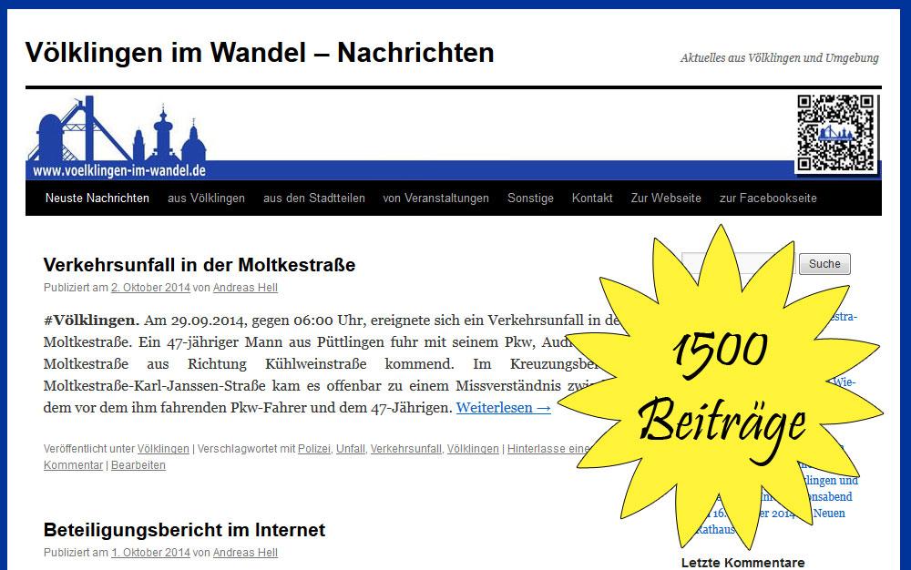 Die Nachrichtensparte von Völklingen im Wandel veröffentlichte heute ihren 1500. Beitrag.