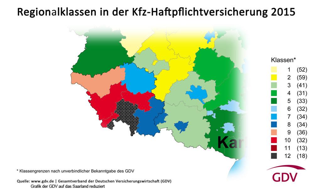 Diese Grafik zeigt die KFZ-Regionen des Saarlandes, allerdings ist Völklingen mit Stufe 12 teurer als eingezeichnet (12). (Grafik: GDV)