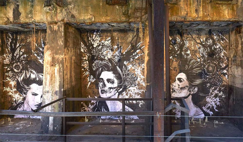 """Eric Lacan: The Beauty is the Beast, 2015 Kunstwerk des """"UrbanArt Biennale® 2015 - Parcours"""" im Weltkulturerbe Völklinger Hütte Copyright: Weltkulturerbe Völklinger Hütte/Hans-Georg Merkel"""