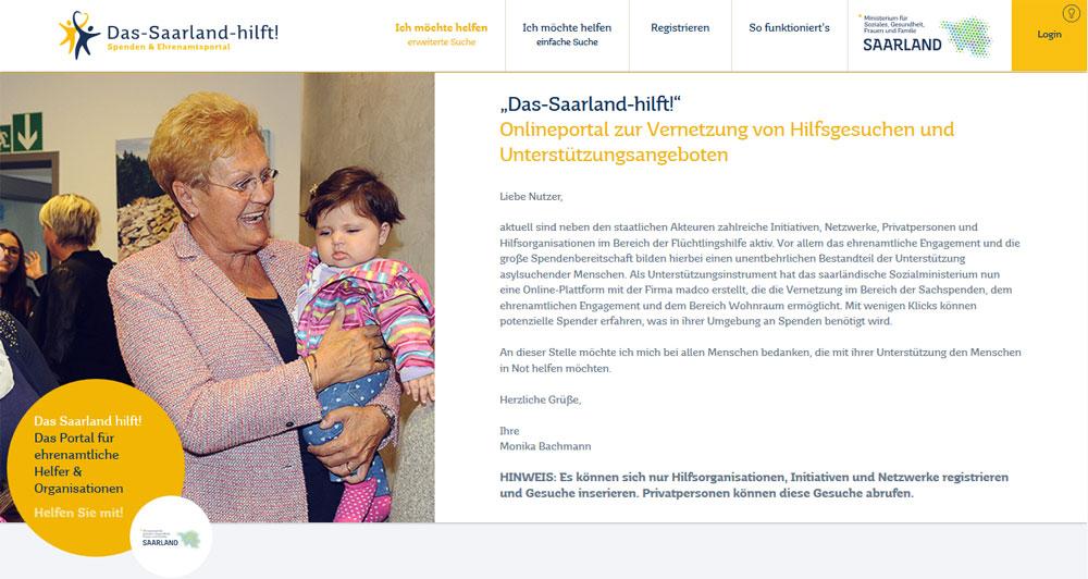 """Screenshot des Portals """"das Saarland hilft"""""""