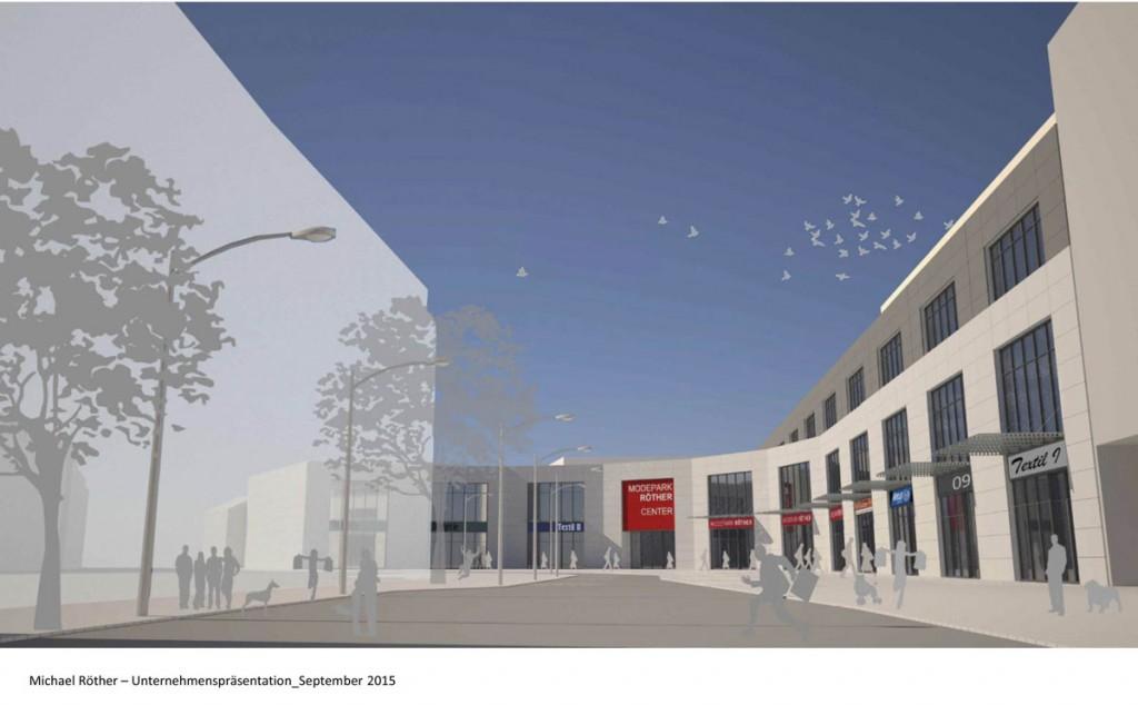 So stellt sich die Modepark Röther GmbH ihren Neubau in Völklingen vor (Quelle: PM Stadt VK)
