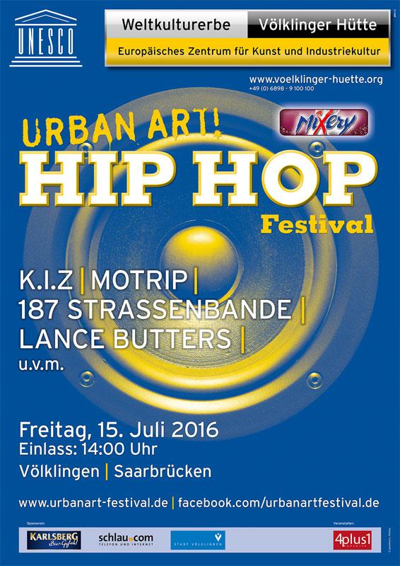 """Plakat des """"UrbanArt Hip Hop Festivals 2016"""" im Weltkulturerbe Völklinger Hütte Copyright: Weltkulturerbe Völklinger Hütte/Glas AG"""
