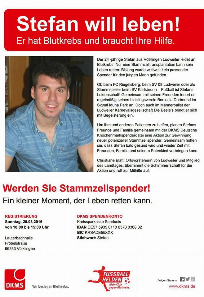 Eine Stammzellspender-Aktion findet am Sonntag, 20.03.2016 von 10:00 bis 15:00 Uhr in der Lauterbachhalle (Fröbelstraße, 66333 Völklingen-Lauterbach) gemeinsam mit der DKMS statt!