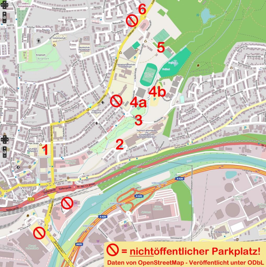 Parkplätze in Völklingen: 1 - Hindenburgplatz 2 - Parkplatz am BBZ 3 - Parken an der Moselstraße 4a - Parkplätze an der Hermann-Neuberger-Halle 4b - Parkplatz Köllertalbad 5 - Waldparkplatz an den ehem. Tennisanlagen 6. Park-&Ride-Parkplatz
