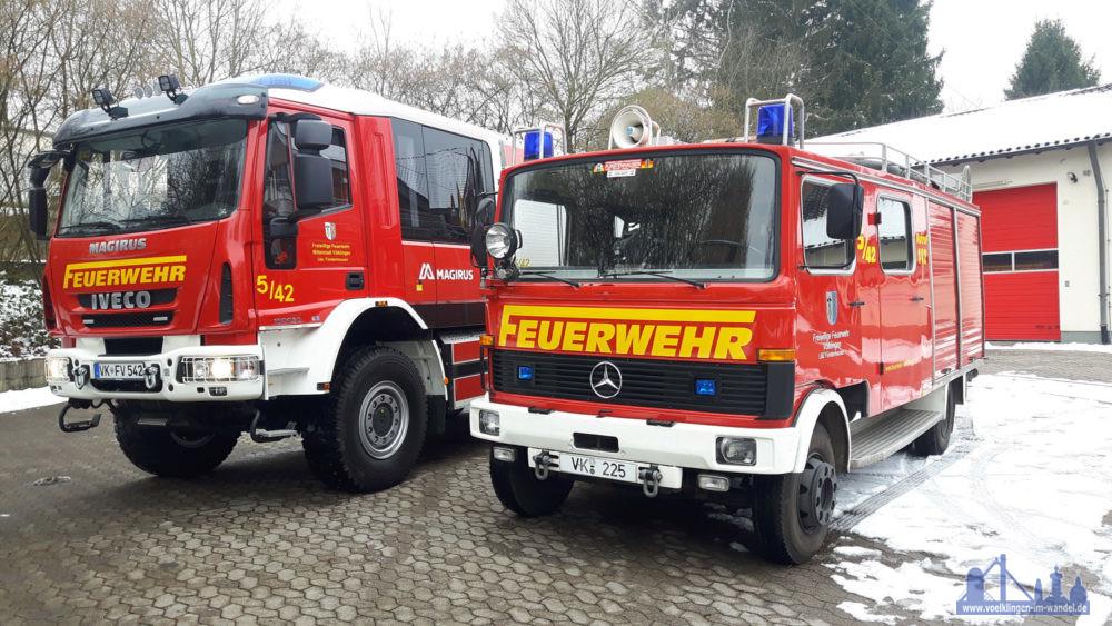 Die beiden neuen Fahrzeuge, das LF Florian Völklingen 5/42 und das alte LF 8 Florian Völklingen 5/18 a.D. (Foto: F. Kirchmeier/FFW)