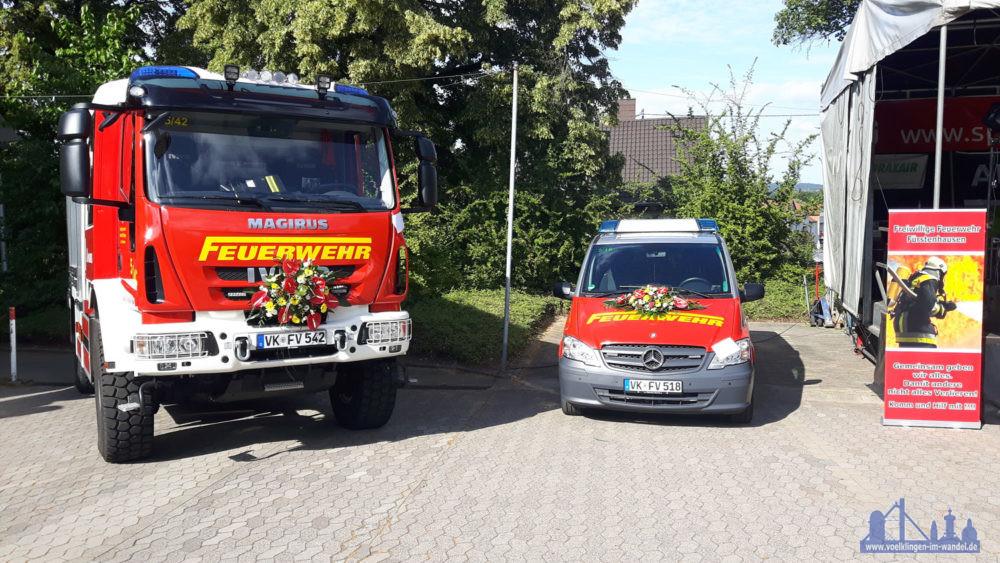 Die beiden neuen Fahrzeuge, das LF Florian Völklingen 5/42 und der MTW Florian Völklingen 5/18 (Foto: F. Kirchmeier/FFW)