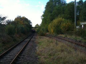 Die Strecke ist bereits nur noch auf einem Gleis befahren (Foto: Renate Fries)