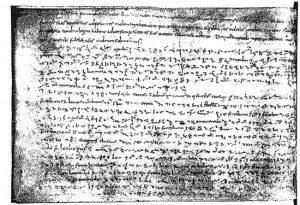 """Das Kaiser-Diplom. Der Schreiber der Fulcolingas-Urkunde bediente sich einer Schnellschrift. Die Schriftzeichen werden als so genannte """"Tironische Noten"""" bezeichnet, benannt nach Publius Tiro, einem Freigelassenen des großen Römers Marcus Tullius Cicero (gestorben 43 vor Christus). Leute, die diese schwierigen """"Noten"""" schreiben konnten, hießen """"Notare"""". In etwas mehr als sieben Zeilen zeigt die Reproduktion des Pariser Originals einen Text, der in moderner Druckschrift 40 Zeilen zählen würde. Einige Worte sind in lesbarer Klarschrift eingestreut. Die Erwähnung des Namens """"Fulcolingas"""" am Anfang der achten Zeile in der Abschrift ist die bisher älteste gefundene schriftliche Erwähnung des Namens der Stadt."""