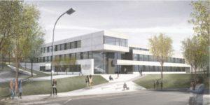 Entwurf des Ersatzneubaus von der Moselstraße aus gesehen. Foto: arus GmbH, Püttlingen