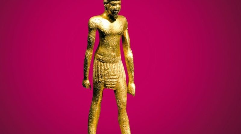 Statuette des Königs Chephren Altes Reich, 4. Dynastie, 2522 - 2496 v. Chr. Gold, Elektron, Höhe 6 cm Copyright Foto: Weltkulturerbe Völklinger Hütte/Archiv