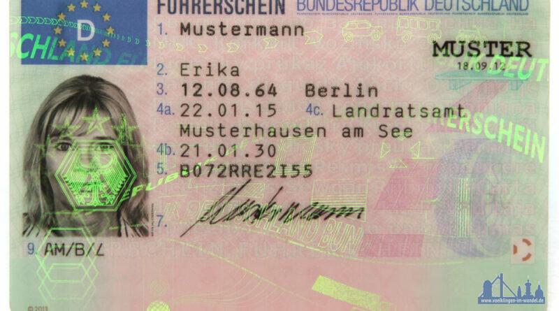 Muster eines deutschen EU-Führerscheins, Vorderseite (Gemeinfrei)