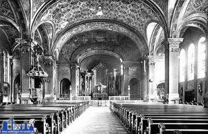 Innenansicht der neuen Kirche um 1945