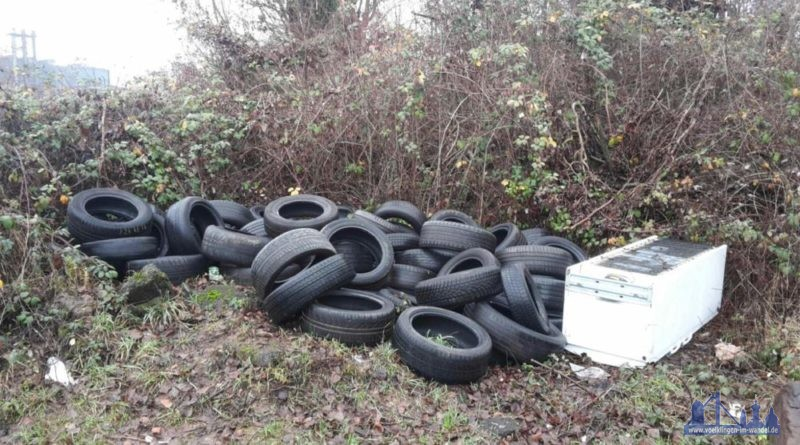 Die AG saubere Stadt hat diese Reifen und den Kühlschrank am 24.12.vorgefunden.... (Foto: AGSS)