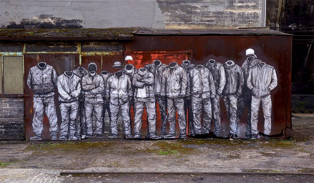 Levalet: Plan Social, 2017 Tusche und Acryl auf Papier, 190 x 160 cm Ort: Kohleturm Copyright: Weltkulturerbe Völklinger Hütte/Karl Heinrich Veith