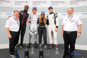 Carrie Schreiner als erste Frau Siegerin im Porsche Super Sports Cup - Foto: Porsche