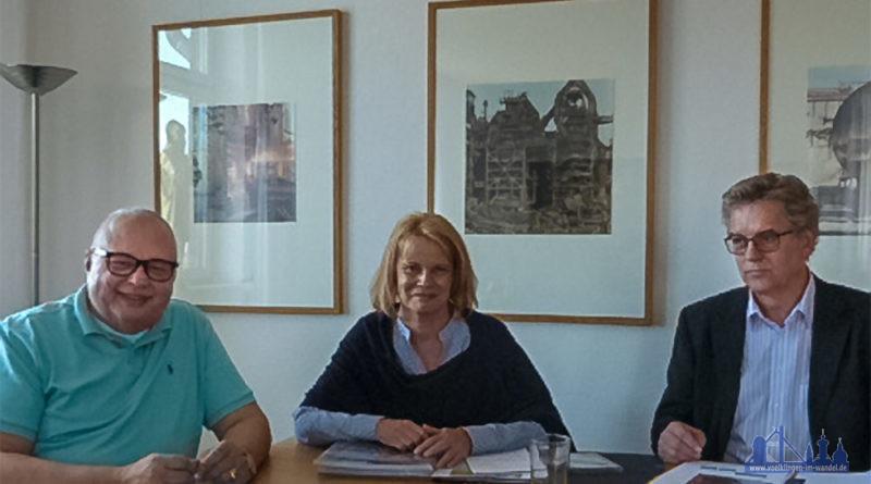 Generaldirektor Prof. Dr. Meinrad Maria Grewenig, Oberbürgermeisterin Christiane Blatt und Fachbereichsleiter Jürgen Manz bei ihrem Treffen im Weltkulturerbe Völklinger Hütte.