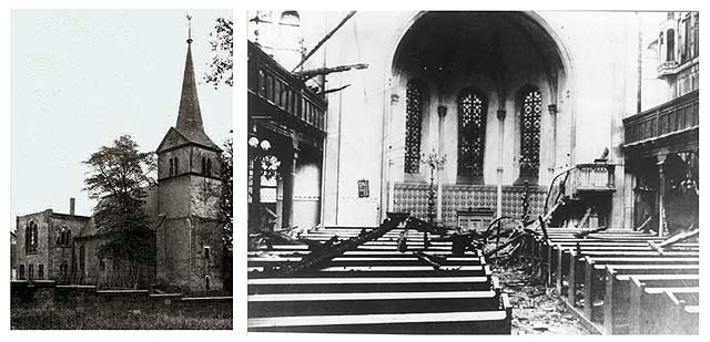 Die von den Flammen und Löschwasser verwüstete Kirche. *Sie sieht nicht so sehr in Mitleidenschaft gezogen aus, wie es teilw. dargestellt wird*