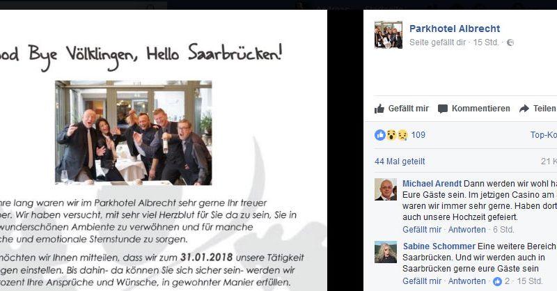 Familie Albrecht verlässt 2018 das Parkhotel (Screenshot: Facebook)