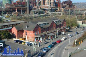 Blick auf den alten Bahnhof vom Dach des Globus-SB-Warenhauses (Foto: Hell)