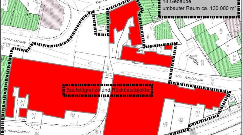 Rot: Die Gebäude die abgerissen werden. Die graue Linie grenzt das Baufeld ein. (Grafik: Stadt)