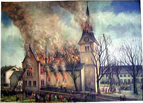 Der Brand von 1922 auf einem Gemälde. So groß konnten die Flammen allerdings nicht gewesen sein, wie auf diesem Gemälde dargestellt (siehe Fotos weiter unten)