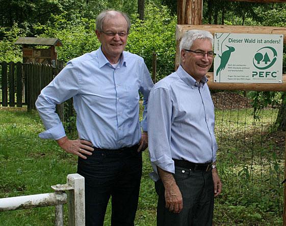 Bürgermeister Wolfgang Bintz und Oberbürgermeister Klaus Lorig (beide CDU) gehen am 31. Mai 2018 in den Ruhestand (Bildausschnitt aus einem Foto der Stadt Völklingen)