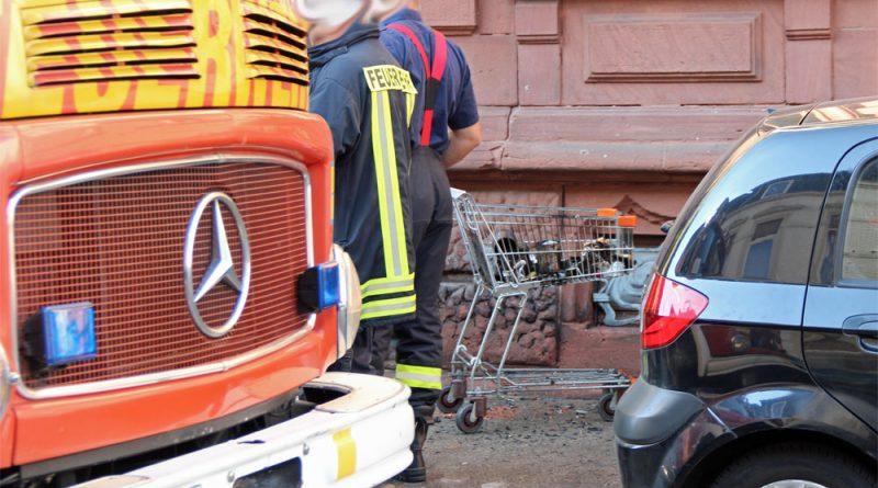 Ein mit Papier gefüllter Einkaufswagen war in Brand geraten. Die Einsatzkräfte löschten das Feuer mit dem Druckschlauch S ab. Anschließend wurde die Einsatzstelle an die Polizei übergeben. (Foto: Hell)