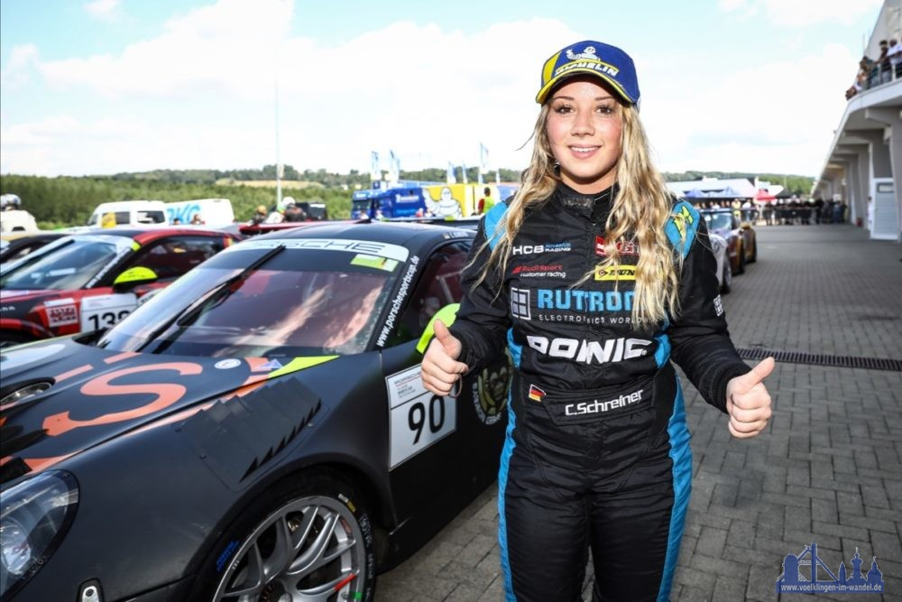 Freude bei Carrie Schreiner über ihren Sieg und das erfolgreiche Wochenende (Foto: Team Herberth Motorsport)