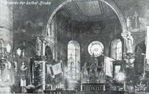 Ein Blick in den Chor der alten Sankt Eligius Kirche (Foto: Sammlung Heimatkundlicher Verein Warndt)