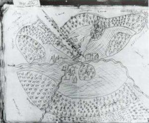 Die älteste Karte von Völklingen aus dem Jahre 1594 (Abfotografiert vom Heimatkundlichen Verein Warndt e.V.)