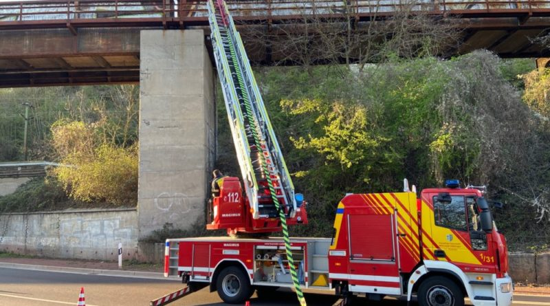 Durch die Einsatzkräfte wurde eine Wasserversorgung von der Bundesstraße 51 über die Drehleiter zum Brandherd aufgebaut und die Brandbekämpfung eingeleitet. Foto: Feuerwehr Völklingen