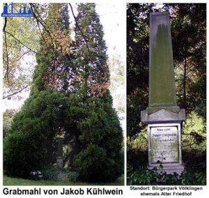 Das Grab Kühlweins auf dem alten Völklinger Friedhof, dem heutigen Bürgerpark