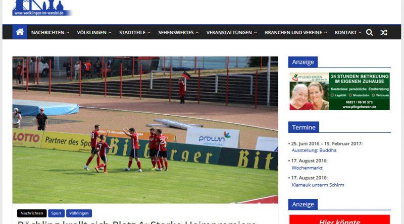 Unsere Webseite mit Beispielen für mögliche Werbeplätze.