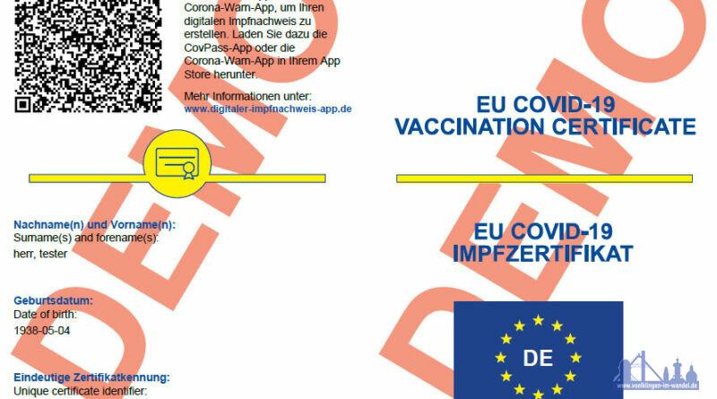 Muster des digitalen Impfzertifikates
