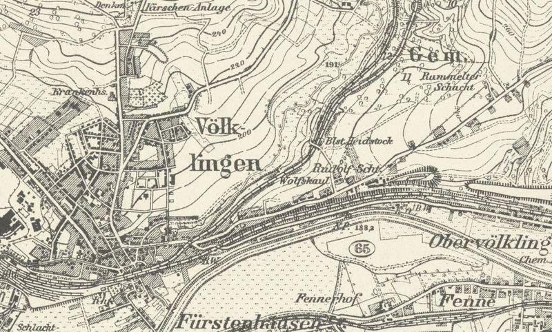 Verlauf der Strecke 1911 bis 1914