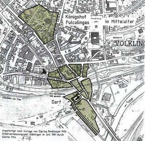 Die Lage des Völklinger Könighofs im Vergleich zu einer Karte von 1991. (Quelle: Stadt VKL)