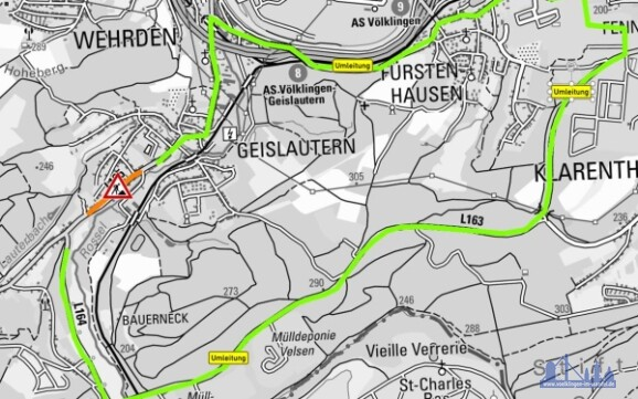 Umleitung zum Baubereich der Maßnahme auf der L 165 in der OD Geislautern / Baupahse 1 Foto: LVGL KNr. Z-010/13 / LfS