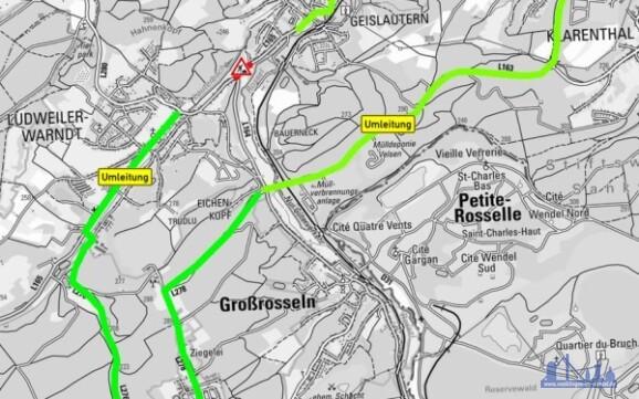 Umleitung zum Baubereich der Maßnahme auf der L 165 in der OD Geislautern / Bauphase 2 Foto: LVGL KNr. Z-010/13 / LfS